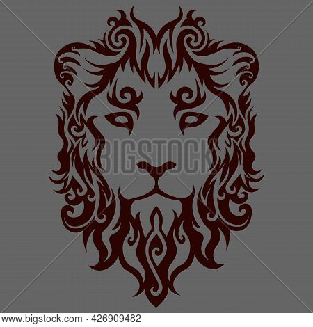 Abstract Swirly Lion Face On Grey Background, Tattoo Design, Leo Sign