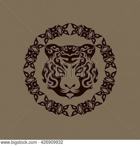 Abstract Swirly Tiger Face In Tribal Ornament Frame, Horoscope Sign