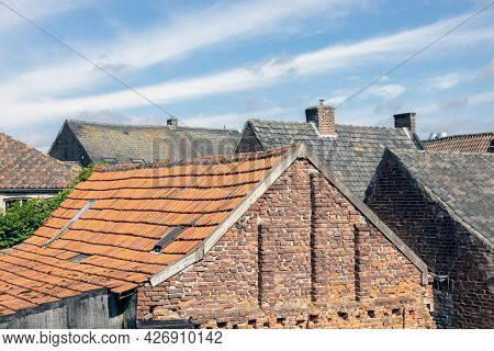 View At Roofs Old Historic Houses Downtown Arcen, The Netherlands