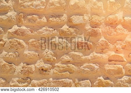 Ancient Masonry Brickwork With Limestone, Background. At An Archaeological Site In Rome. Texture Of