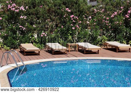 Swimming Pool And Deck Chairs In A Tropical Garden With Oleander Flowers. Vacation On Summer Resort