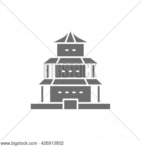 Vector Chinese Temple, Traditional Church Grey Icon.