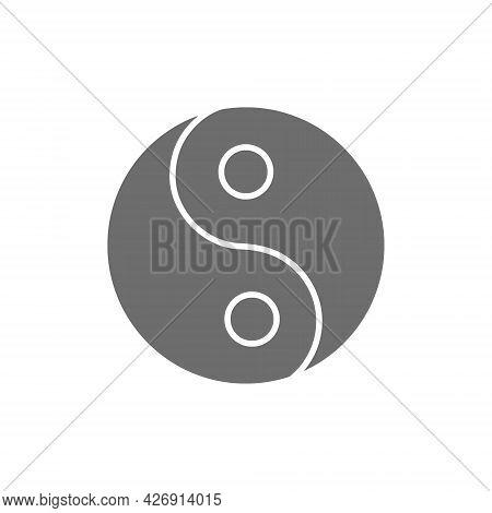 Yin Yang Sign, Traditional Chinese Symbol Grey Icon.