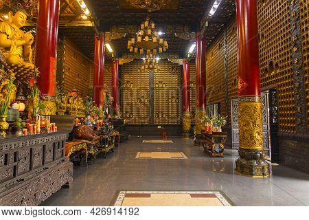 Ho Chi Minh, Vietnam - Oct 18, 2019 : Interior Of Thousand Buddha Temple Or Chua Van Phat Temple In