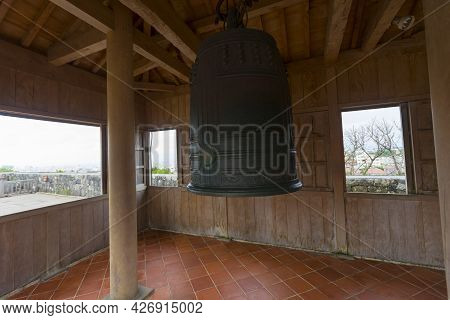 Bankoku Shinryo-no Kane,the Bell Hang In The Wooden Pavilion At Shurijo Castle,okinawa,japan