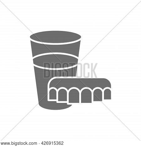 Dentures With Glass Of Water Grey Icon.