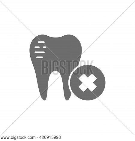 Damaged Tooth Enamel, Dental Broken Grey Icon.