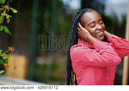 Pretty Braids Business African American Lady Bright Bossy Person Friendly Wear Office Red Shirt.
