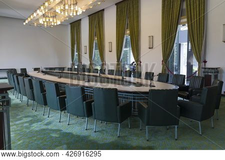 Ho Chi Minh, Vietnam - Oct 17, 2019 : View Of Meeting Room Inside Independence Palace In Ho Chi Minh