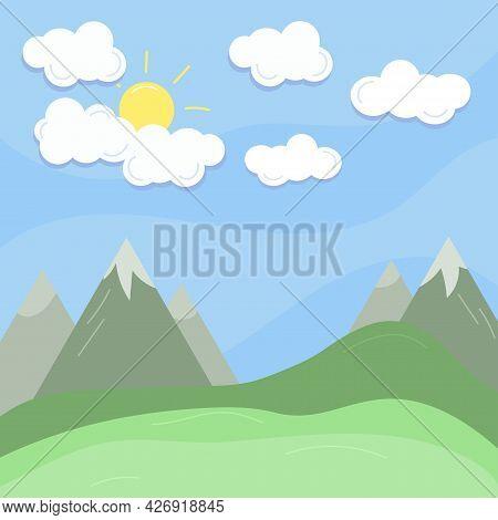 Cloud, Sun And Mountain Summer Landscape. Blue Sky, Grassland. Flat Vector Illustration