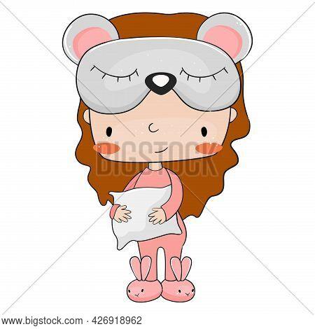 Cute Little Girl In Bunny Pajama. Vector Illustration.