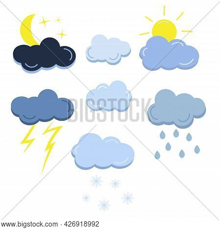 Cloud With Crescent, Sun, Rain, Snowflake And Thunderstorm. Set Weather Icons Isolated On White Back