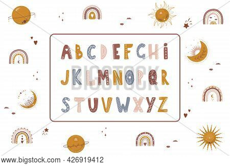 Boho Alphabet With Celestial Elements. Cute Letters And Numbers For Banners, Nursery Design, Postcar