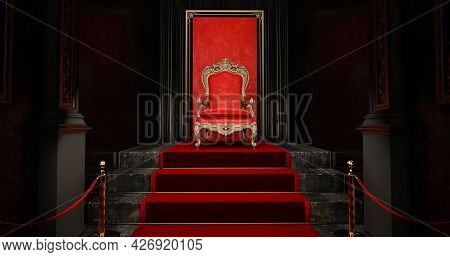 Red Royal Chair On A Red And Black Background, Vip Throne, Red Royal Throne, 3d Render