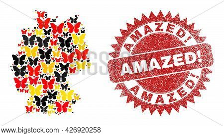 Germany Map Mosaic In Germany Flag Official Colors - Red, Yellow, Black, And Dirty Amazed Warning. R
