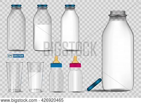 Set Of Realistic Bottle Milk Isolated Or Fresh Milk In Glass Mock Up Template Or Various Flavour Mil