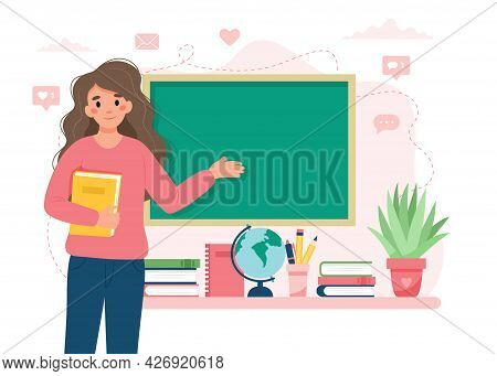 Female Teacher In Classroom. School And Learning Concept, Teachers Day. Cute Vector Illustration In