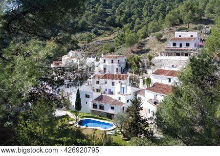 Frigiliana Mountain Village Spain. Hamlet Of El Acebuchal. High Angle Landscape View Of Whitewashed