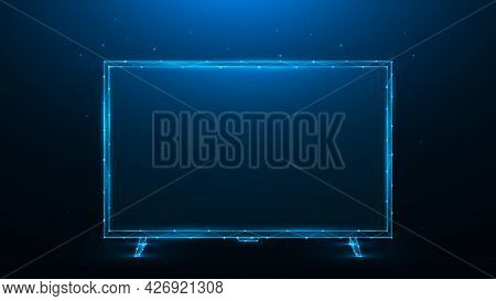 Polygonal Vector Illustration Of Led Or Lcd Tv On Dark Blue Background. Modern Tv Monitor Low Poly D
