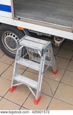 Aluminium Step Ladder To Access Tall Trailer Rv
