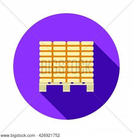 Icon Of Construction Pallet. Flat Circle Stencil Design With Long Shadow. Vector Illustration.