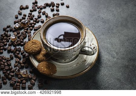Reflections Of A Delivery Car On A Cup Of Coffee. Online Shopping. Concept Of Delivery Services, Log