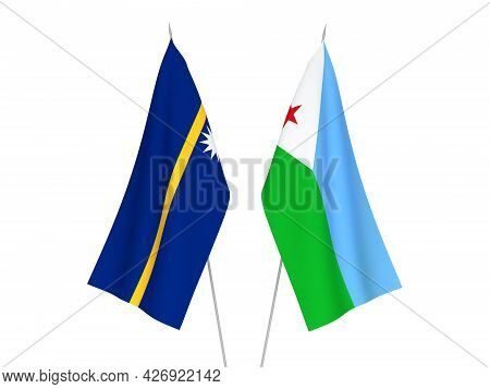 National Fabric Flags Of Republic Of Nauru And Republic Of Djibouti Isolated On White Background. 3d