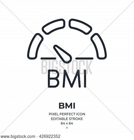 Bmi Body Mass Index Concept Editable Stroke Outline Icon Isolated On White Background Flat Vector Il
