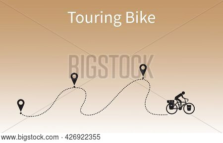 Touring Bike Cyclist Travel On Gps Route To The Destination. Biker Cycling Adventure With Bikepackin