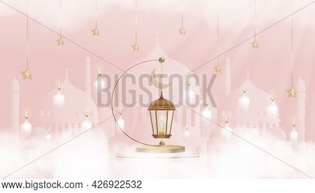 Eid Mubarak Card Traditional Islamic Lantern,crescent Moon And Star On Pink Background,vector Backgr