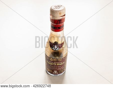 Moscow, Russia - June 10, 2021: Used Glass Bottle Of Aged Giuseppe Giusti Aceto Balsamico Di Modena