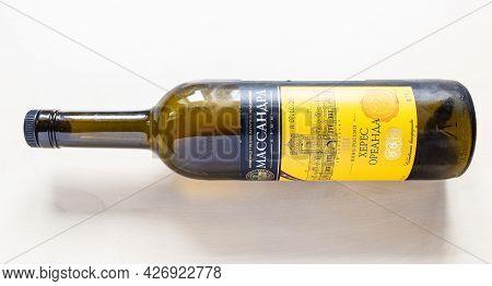 Moscow, Russia - June 10, 2021: Empty Bottle Of Fortified Wine Oreanda Sherry From Massandra Crimean