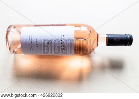 Moscow, Russia - June 10, 2021: Bottle Of Pinot Noir Rose Wine From Golubitskoe Estate Winery On Tam