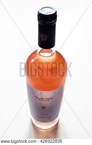 Moscow, Russia - June 10, 2021: Closed Bottle Of Pinot Noir Rose Wine From Golubitskoe Estate Winery