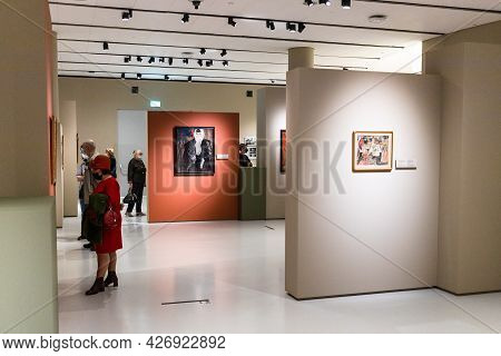 Moscow, Russia - May 23, 2021: Interior Of Museum Of Russian Impressionism In Moscow City. The Museu