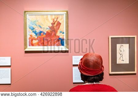 Moscow, Russia - May 23, 2021: Inside Of Museum Of Russian Impressionism In Moscow City. The Museum