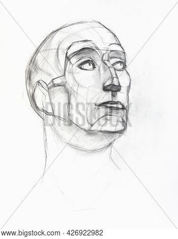 Academic Drawing - Sketch Of Plaster Cast Of Niccolo Da Uzzano Head Hand-drawn By Graphite Pencil On