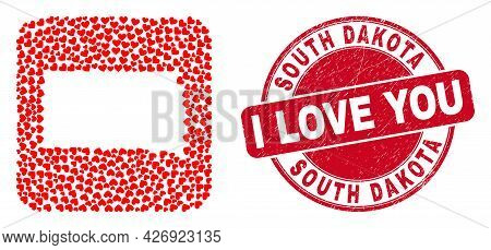 Vector Collage South Dakota State Map Of Love Heart Items And Grunge Love Stamp. Mosaic Geographic S