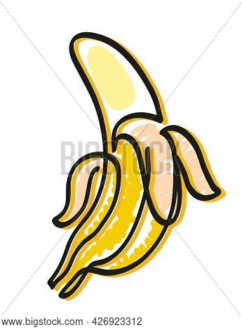One Line Drawing Of Open Banana. One Continuous Line Drawing Of Open Banana Isolated On White.
