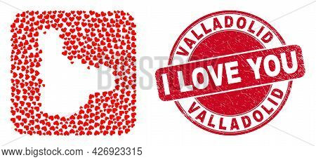 Vector Collage Valladolid Province Map Of Lovely Heart Elements And Grunge Love Stamp. Collage Geogr