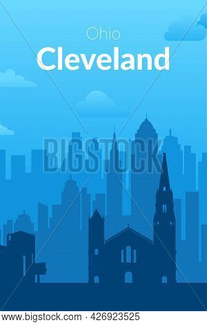 Cleveland, Usa Famous City Scape View Background.