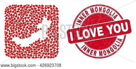 Vector Mosaic Inner Mongolia Map Of Lovely Heart Elements And Grunge Love Seal. Mosaic Geographic In
