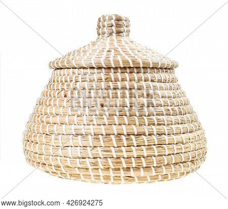 Side View Of Closed Moroccan Wicker Basket From Seagrass Isolated On White Background