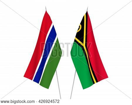 National Fabric Flags Of Republic Of Gambia And Republic Of Vanuatu Isolated On White Background. 3d