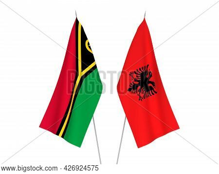 National Fabric Flags Of Republic Of Albania And Republic Of Vanuatu Isolated On White Background. 3