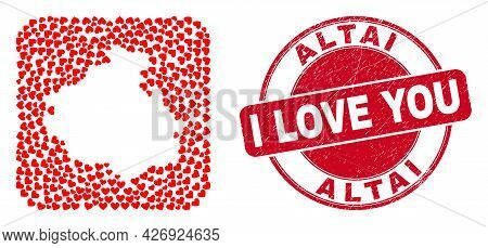 Vector Collage Altai Republic Map Of Lovely Heart Elements And Grunge Love Badge. Collage Geographic