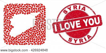 Vector Collage Syria Map Of Lovely Heart Items And Grunge Love Seal. Collage Geographic Syria Map De