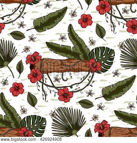 Hibiscus Floral Wallpaper Flower Seamless Pattern. Hawaiian Tropical Background Illustration Design