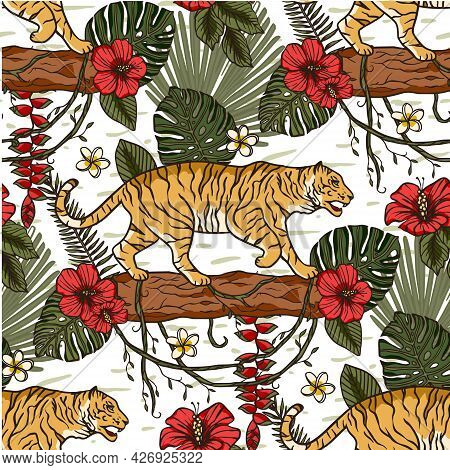 Jungle Tiger Exotic Tropical Seamless Pattern With Hibiscus Flower. Animal Floral Nature Fabric Illu