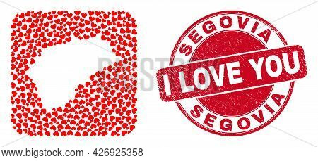 Vector Collage Segovia Province Map Of Valentine Heart Elements And Grunge Love Badge. Collage Geogr